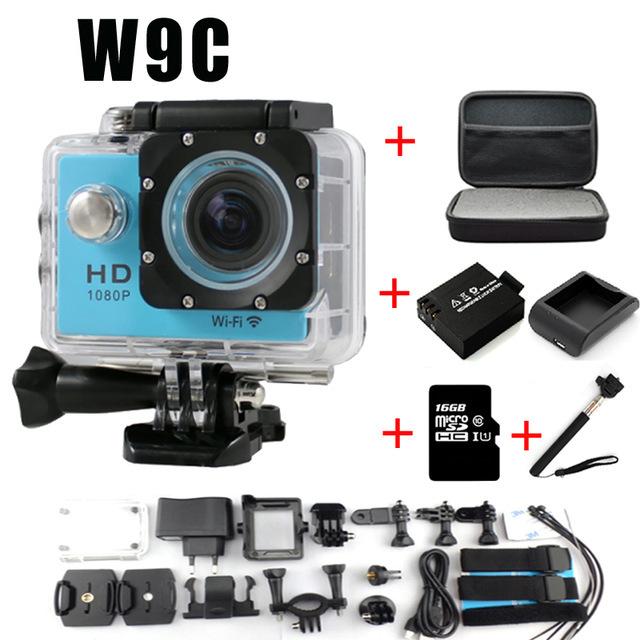 Full HD 1080 P 12MP Câmera Wi-fi W9C Actioncam Sports Video Camera Ação DV Capacete Da Bicicleta ir pro câmeras à prova d' água
