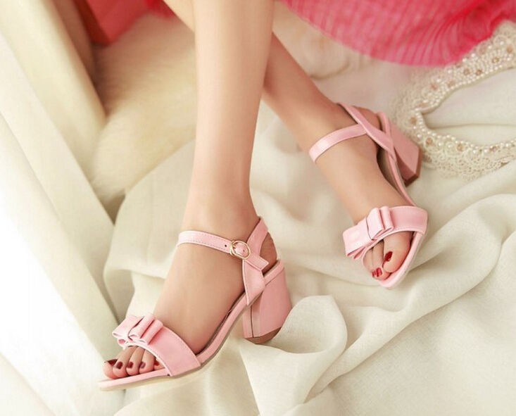 Summer Women Thick Mid Heel Bowknot Open The Toe Ankle Wrap Fashion Casual Sandals Shoes Plus Size 33-43 SXQ0611 new arrival summer shoes wrap open toe fashion women ankle strap sandals thick heel platform women sandals size 34 43 pa00776