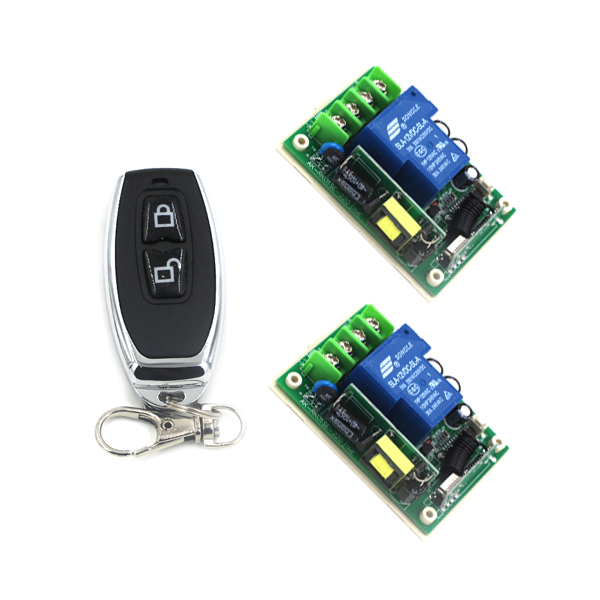 AC85V-250V 1 Channel Learning Code Gate Garage Door Remote Control Switch 2pcs Receiver with Two Buttons Transmitter SKU: 5502