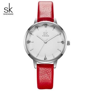Shengke Luxe Quartz Horloge Vrouwen Dames Lederen Polshorloge Reloj Mujer 2019 SK Crystal Vrouwen Horloges Montre Femme # K8030