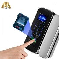 Frameless Glass Door Lock With Remote Control Fingerprint Door Lock XM 100 Smart Keyless Glass Door Lock Free Shipping