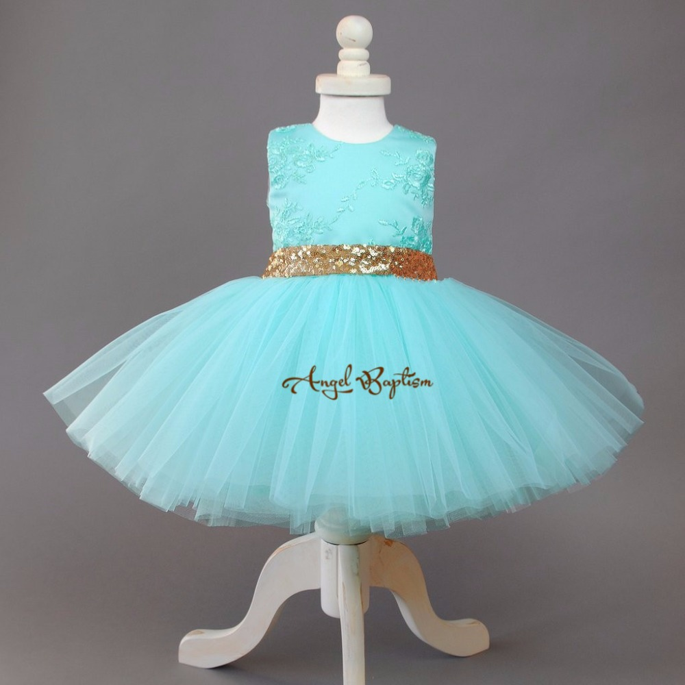 Sweet Mint flower girl dresses short lace appliqued tutu dress gold sequin and bow baby first birthday princess pageant dress