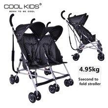Супер светильник для близнецов, детская коляска Coolkids, портативный автомобильный зонт, подвеска, Складывающийся для близнецов, тележка, бок о бок