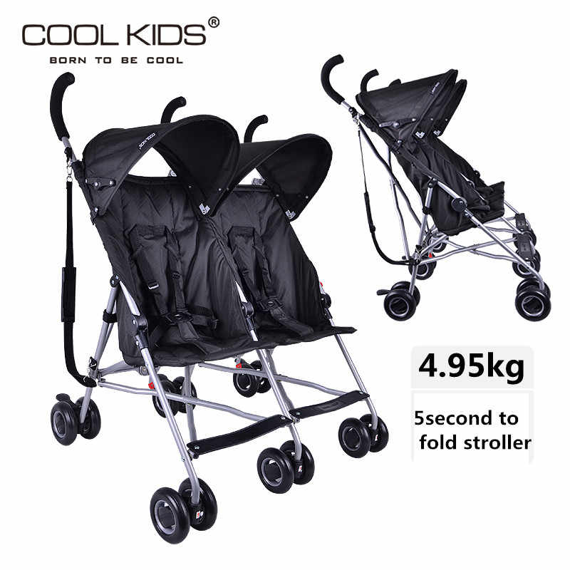 2019 Super Light Twin Kereta Bayi Coolkids Payung Mobil Portable Suspensi Lipat Kembar Trolley Side By Side