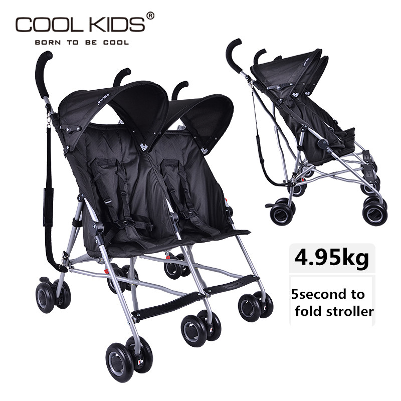 2018  super Light Twin  Baby Carriage Coolkids Portable Car Umbrella Suspension Folding  Twins Trolley side by side coolkids baby double stroller ultra light portable car umbrella folding child twins trolley
