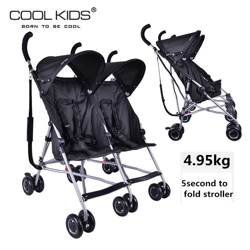 2019 super léger double bébé chariot Coolkids Portable voiture parapluie Suspension pliante jumeaux chariot côte à côte