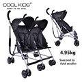 Mais leve Coolkids gêmeo carrinho de criança Carrinho de Bebê Carrinho de Bebê Guarda-chuva Carro Portátil Dobrável Suspensão Gêmeos Carrinho de Criança