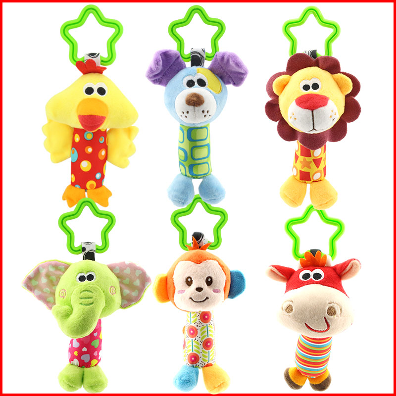 Baby Car Crib Hanging Toys Plush Duck Deer Dog Lion Animal Infant Rattles Hand Bell Appease Toy Christmas Gifts Kids Newborn