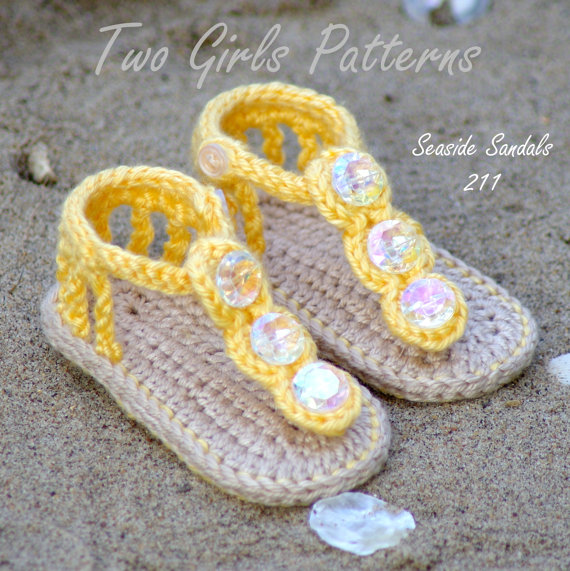 Free Shipping Handmade Baby Shoes Crochet Sandals Sizes 0 12
