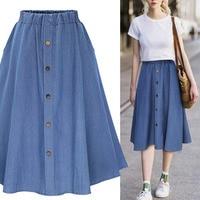 2019 Spring Summer College Clothes Plus Size XXXL Denim Jeans A line Women's Midi Skirt High Waist Button Students Skirts Women