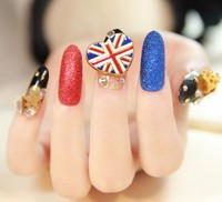 24 шт. Фэнтези 3D металла diamond поддельные ногтей патч длинный отрезок салон серии изысканный невесты ложные nail art готовой продукции