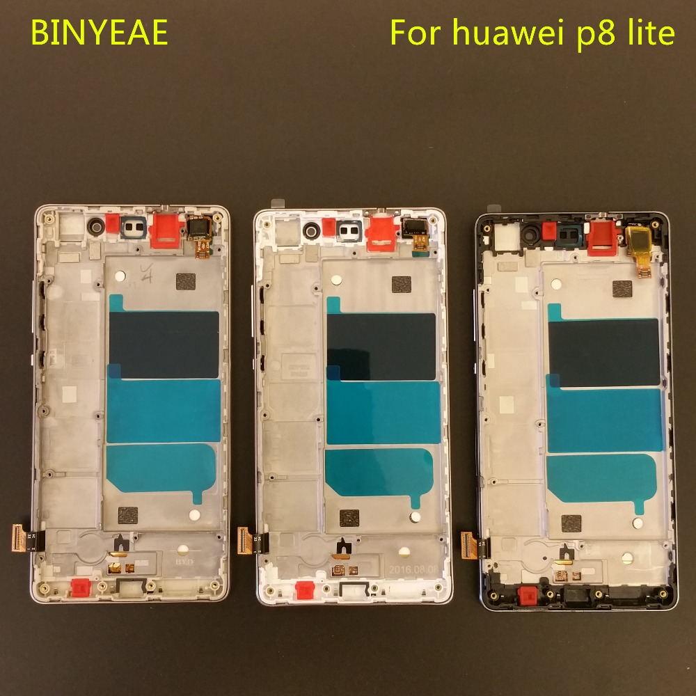 imágenes para BINYEAE Para Huawei P8 Lite ALE-L04 L21 TL00 L23 CL00 L02 UL00 LCD DIsplay + Touch Screen Digitizer + Frame Asamblea Cubierta