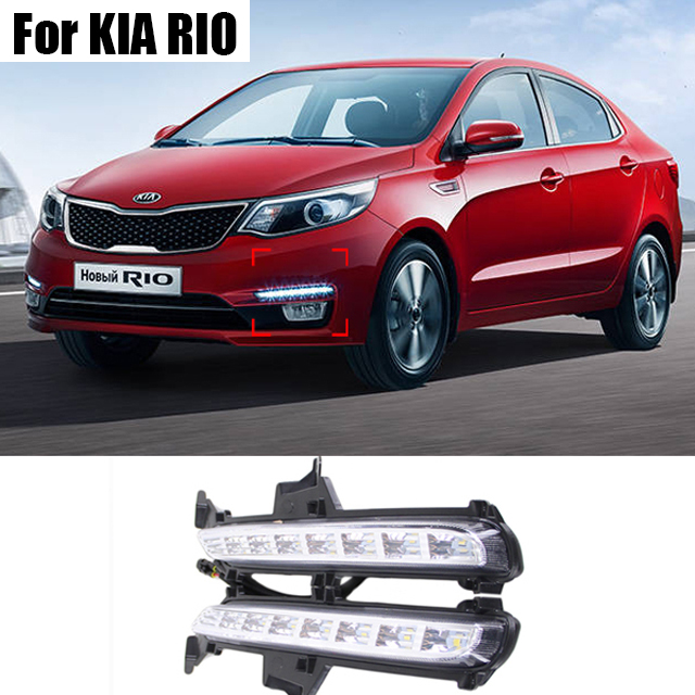 For KIA K2 RIO 2015 2016 Super Bright Car Styling 8 LED DRL Daytime Running font