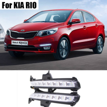 Para KIA K2 RÍO 2015 2016 Super Brillante Car Styling 8 LED DRL Daytime Running Light Luz Antiniebla Modificación A Su Vez señales