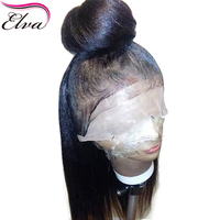 Yaki Straight Full Lace Wig With Baby Hair Glueless Full Lace Human Hair Wigs Brazilian Remy Elva Hair Wig Pre Plucked Hailine