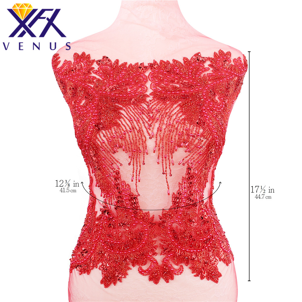 XFX VENUS Handmade Sparkly Dress Patch Rhinestone Applique Patches Beads Pearls Appliques Embroidery for DIY Gown