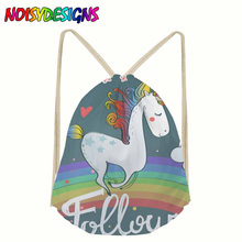 2018 new Women unicorn Backpack 3D printing travel softback women mochila drawstring bag School girls infantil Rainbow Unicorn