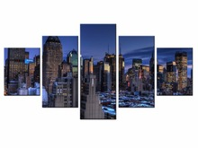 Framde 5 pieces / set of Classic city night view wall art for decorating home Decorative painting on canvas/XC-city-76