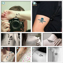 Mixed 8Different Tattoo Designs-Letter Skull Bird Crown Butterfly Waterproof Fake Body Temporary Tattoos Sticker
