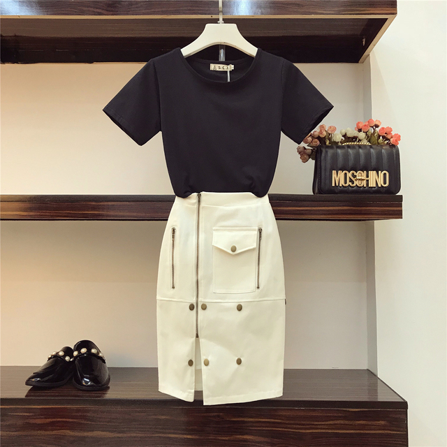 2018 Summer Women's New Fashion Pure Colour Short-sleeved T-shirts + White Package Hip Slim Skirts Girl Lady Two Piece Set Sets