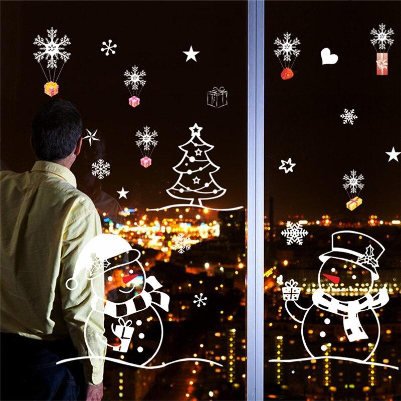 Christmas Tree Snowman Christmas New Year Shop Window Wall Paper Christmas Decorations