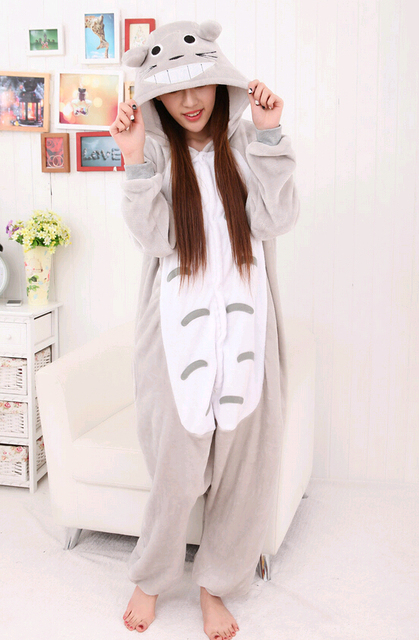 9c3e1736f3 Kigurumi New Winter Anime Pajamas Adult Onesie Animal Totoro Cosplay  Children Pajamas Sleepwear Costume