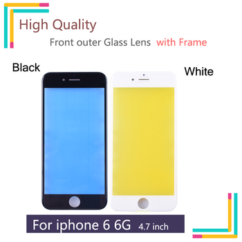4.7 For iPhone 6 Front Glass Touch Screen LCD Outer Panel Lens with Frame Repair Part For A1549 A1586 A158 Front outer Glass image