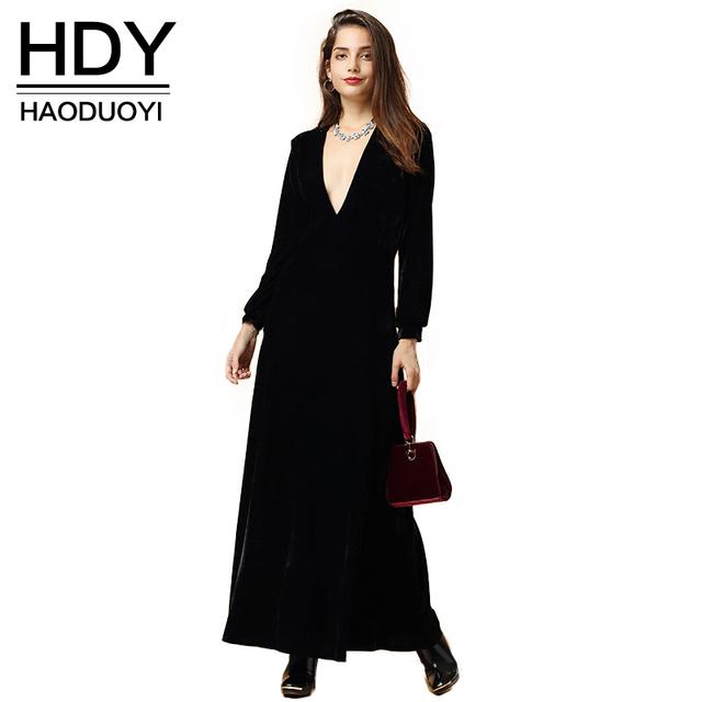 Hdy haoduoyi 2016 otoño moda mujeres negro velvet manga larga maxi dress vestidos plunge neck party dress
