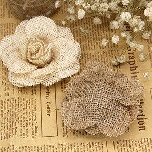 Image 2 - Xinaher 5 pçs 9cm artesanal juta hessian serapilheira flores rosa shabby chique decoração do casamento suprimentos de festa de natal