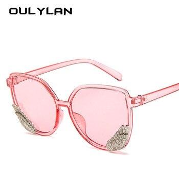 124ea794af Gafas de sol con alas Vintage Oulylan para mujer, gafas de sol  transparentes de colores dulces para hombre, diseño clásico, gafas de sol  ovaladas para mujer