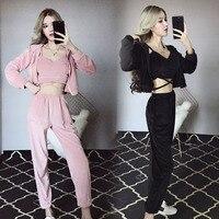 3pcs Women Casual Fitness Gym Tracksuit Velvet Suit Set Full Sleeve Hooded Sweatershirt Bandage Short Crop Top Loose Pants