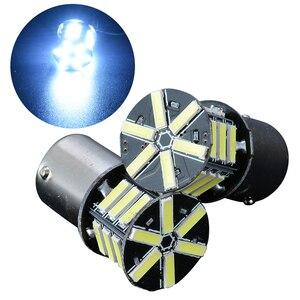 Image 3 - 2 قطعة 12 فولت BA15S 1156 7020 بدوره مصباح إشارة 21LED سوبر الأبيض الذيل احتياطية عكس الفرامل ضوء لمبة للإضاءة سيارة