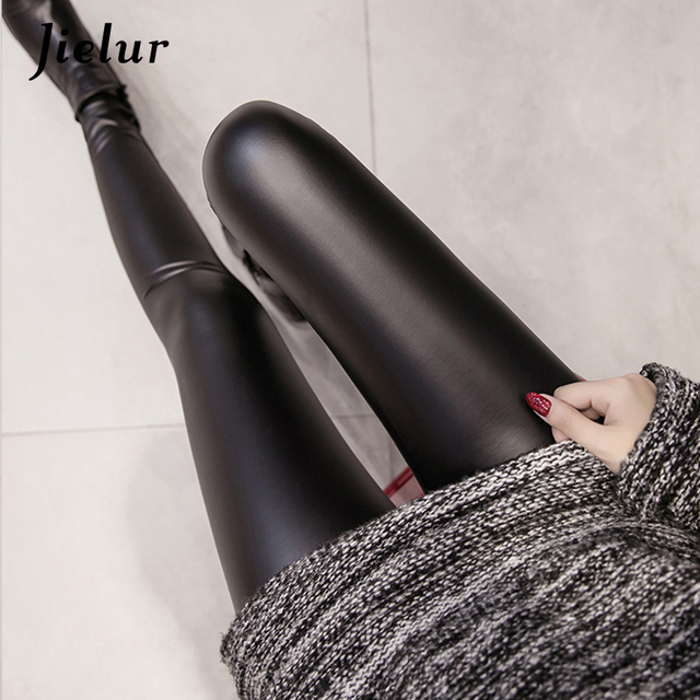 Jielur 2020 Autumn PU Faux Leather Leggings Women 4 Colors Skinny Pants Female Korean Slim Ladies Fleece Pencil Leggins S-3XL 4