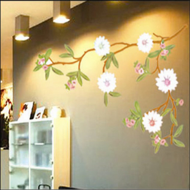 Pot Plant White Flower Tree Retro Hand Drawing Decals Vinyl Wall ...
