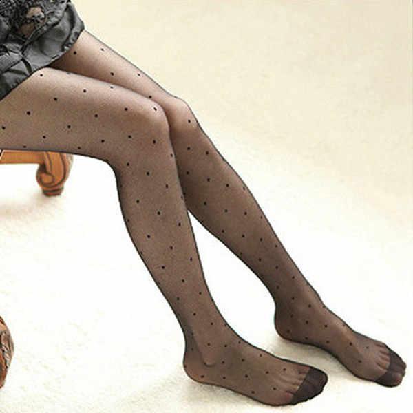 ผู้หญิงเซ็กซี่ถุงน่องฤดูร้อนบางโปร่งใส Jacquard Pantyhose น่ารักสุภาพสตรี Vintage Faux Tattoo Round Dot ถุงน่อง Pantyhose