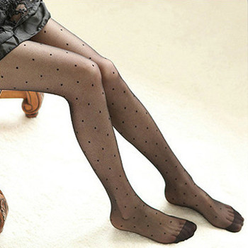 Transparent Jacquard Cute Vintage Faux Tattoo Round Dot Pantyhose