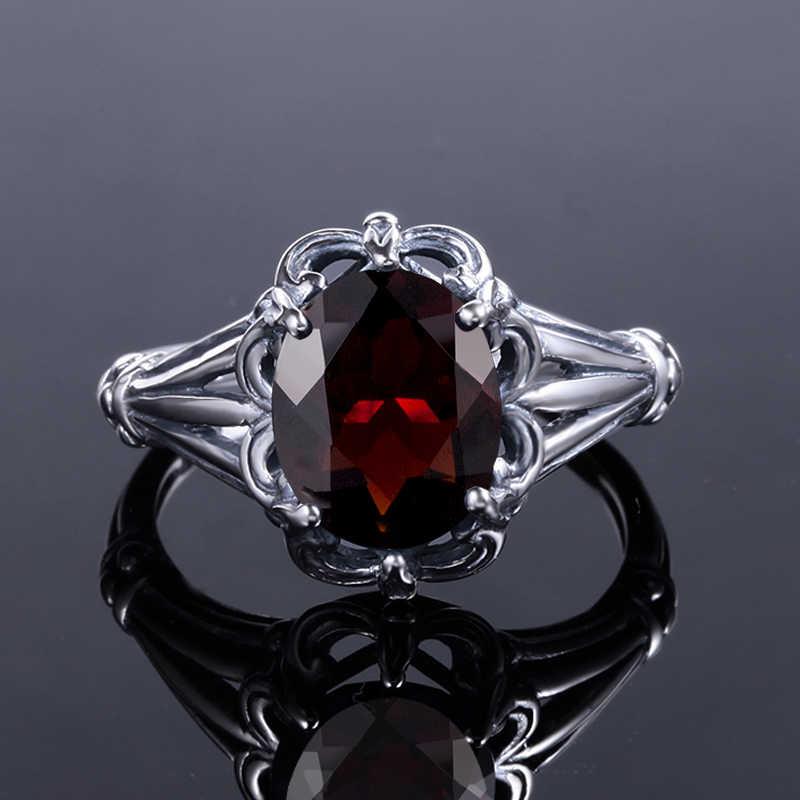 Szjinao ตุรกีเครื่องประดับ 100% 925 แหวนเงินสเตอร์ลิงรูปไข่โกเมน Bohemian Handmade Victoria Wieck แหวน