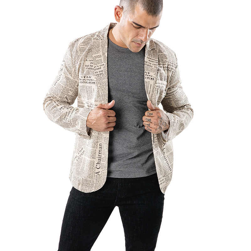 クリエイティブ新聞プリントブレザー男性 2018 ファッションメンズスリムフィットスーツジャケットブレザー因果ワンボタン新ビジネス衣装オム