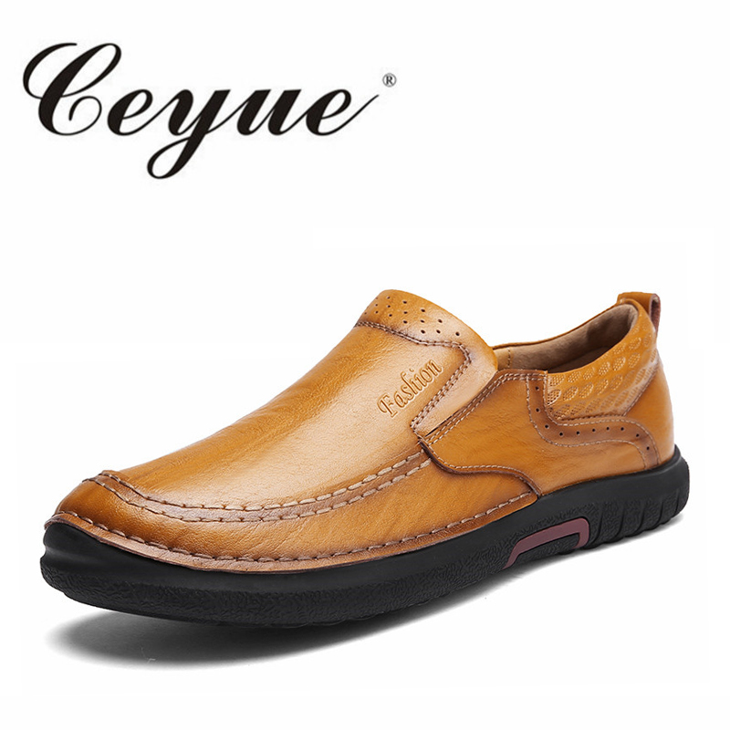 Ceyue Handmade Leather Men Shoes Casual Luxury Brand Men Loafers Fashion Breathable Driving Shoes Slip On Stylish Flat Moccasins men s slip on loafers casual crocodile leather loafers breathable moccasins shoes boat shoes driving shoes flat shoes for men