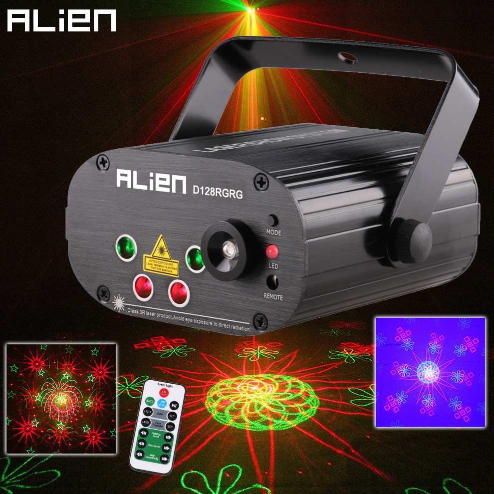 Чужой удаленного двойной красный зеленый 128 Шаблоны этапа лазерный проектор освещения Эффект диско DJ вечерние Club Bar Xmas свет с синий светодио...