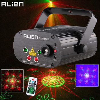 ALIEN Remote Dual Red Green 128 Patterns Stage Laser Projector Lighting Effect DJ Disco Party Club Bar Xmas Light With Blue LED alien remote dmx512 200mw rgy laser stage lighting scanner effect dance dj disco party show light xmas projector lights