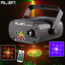 Сценический лазерный проектор ALIEN с дистанционным управлением, два красных и зеленых узоров, 128 узоров, световой эффект, дискотевечерние, вечеринка, клуб, бар, светильник с светодиодный Одом