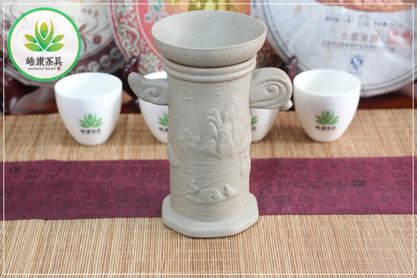 Tea filter Kung fu tea set Landscape of the house between the river and mountains tea strainer