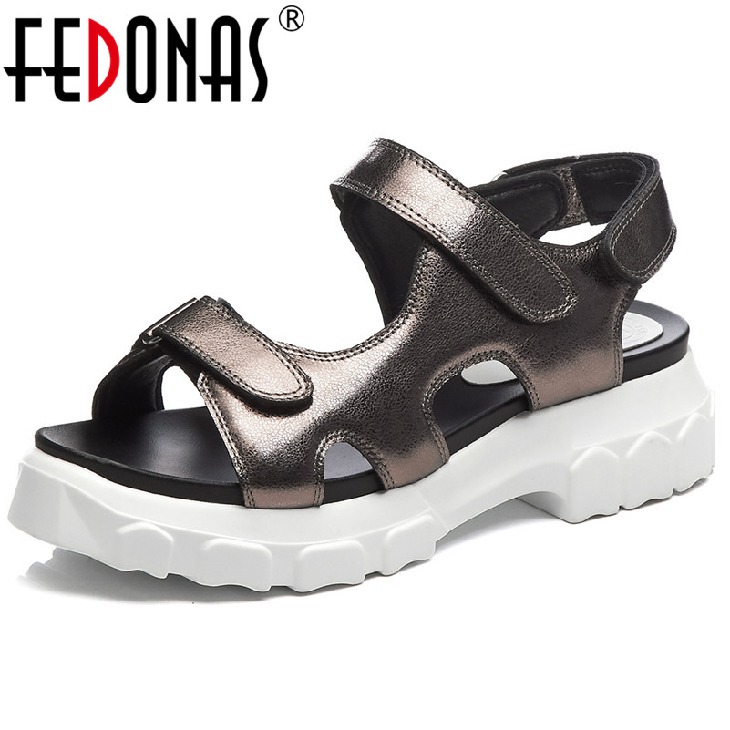 FEDONAS Women Consise Casual Shoes High Quality Genuine Leather Platforms Flats Sandals Summer Casual Sprots Basic