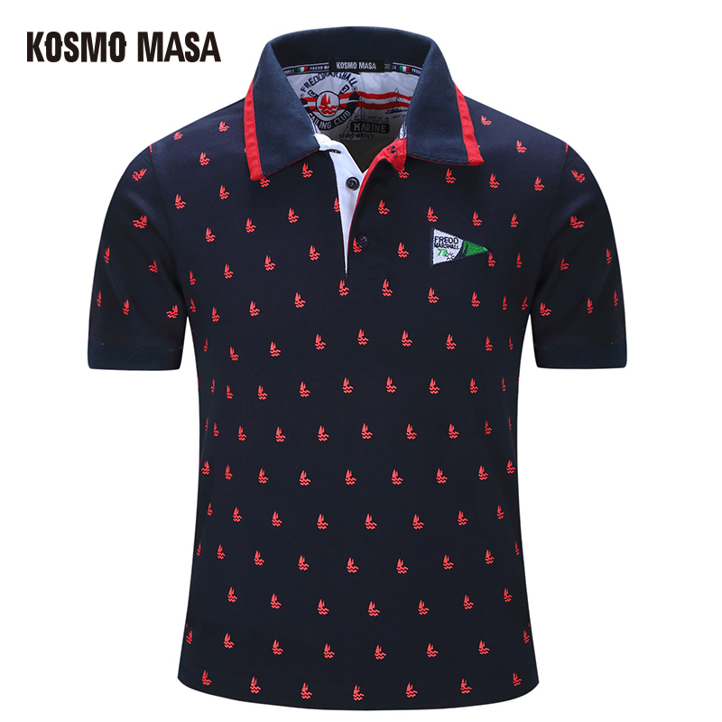 KOSMO MASA 2018 Cotton Casual Polo For Men Summer Short Sleeve Anime Shirt Men's Jersey Camisas Big Size Polo Shirts PS0025