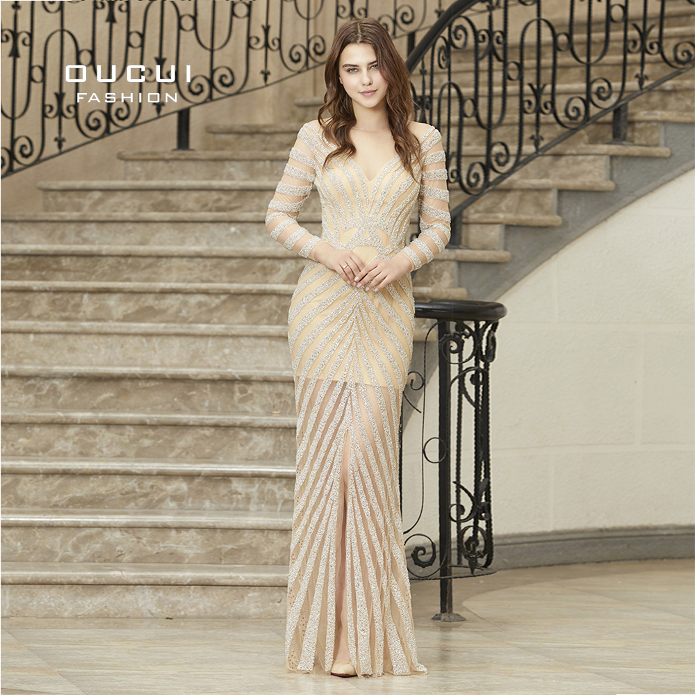 Kaftan Dubai Luxury Crystal Mermaid Robe De Soiree Gorgeous Diamond Long Sleeves Formal Evening Gown   Prom     Dress   Party OL103081