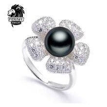 Ajustable anillos de bodas de Perla, perla joyas Anillos para Las Mujeres anillos de perlas Naturales de agua dulce Blanco Negro Regalo, caja de joyería, FENASY