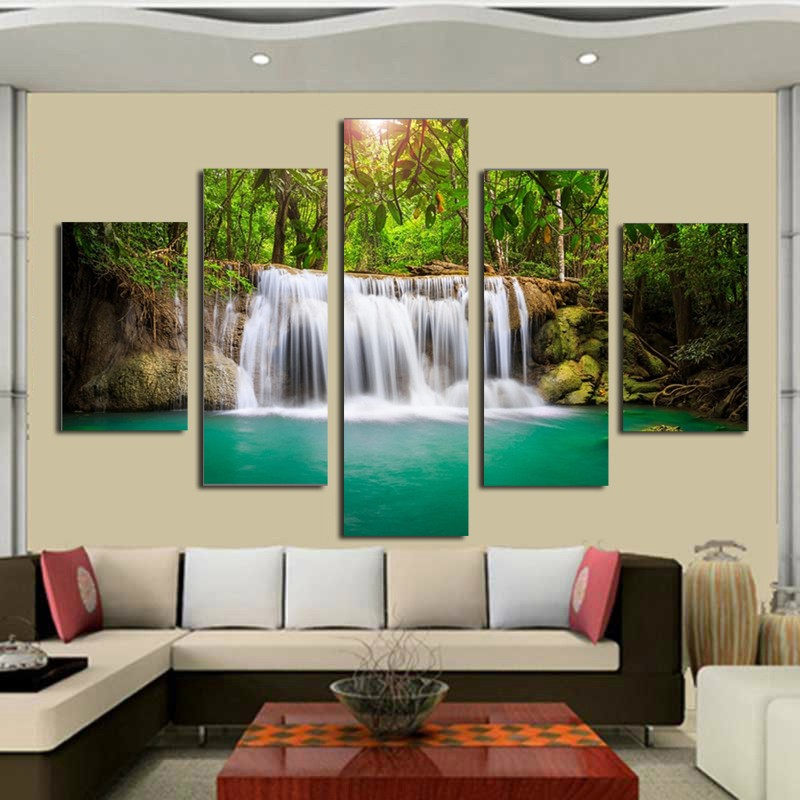 5 panel wall pictures for living room art waterfall canvas painting modular picture posters and - Wall paintings for living room ...