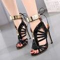 Женская люксовый бренд обувь металлические Блестки сандалии лодыжки ремень каблуки Сексуальные кисточка ботильоны женские сандалии шпильках
