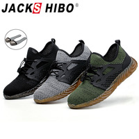 JACKSHIBO Safety Work Shoes Boots For Men Male Protective Steel Toe Cap Boots Anti Smashing Construction Safety Work Sneakers